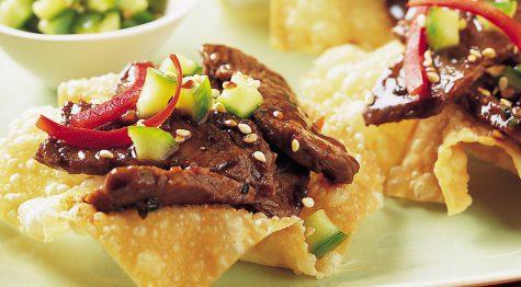 Sesame-Soy Steak Stir-Fry on Wonton Crisps