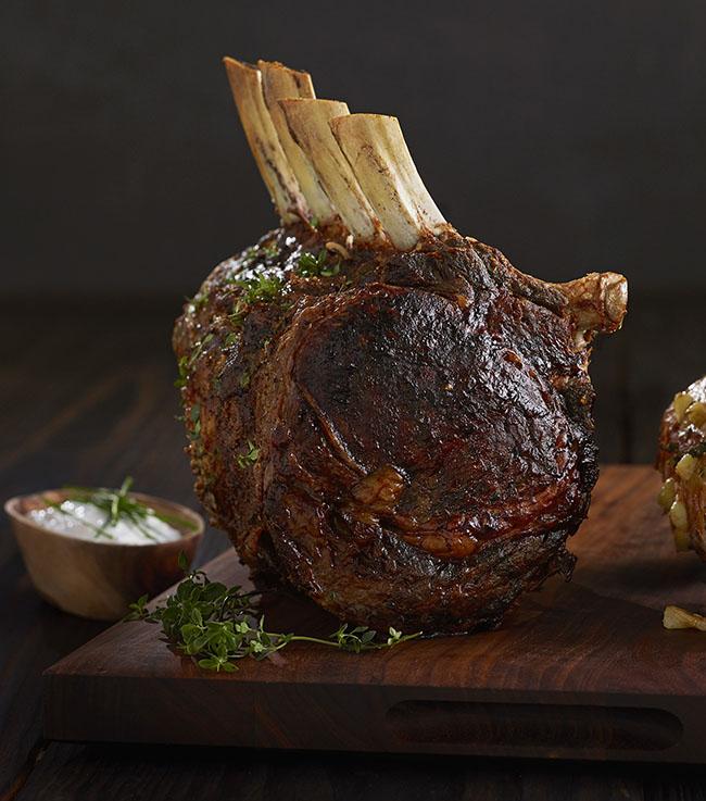 rib roast au jus with horseradish and chive sauce
